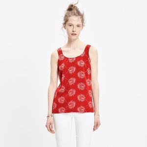 Madewell Silk Lookout Bow-back Top In Palmflower